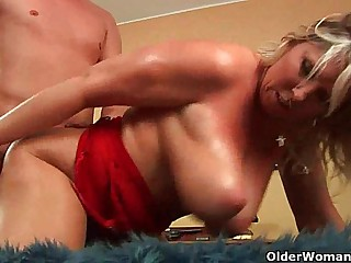 Grown up soccer maw with natural chubby tits gets fucked